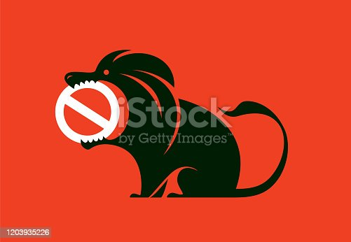 angry lion with stop warning symbol
