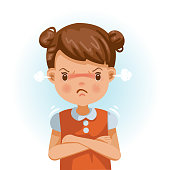 Angry little girl. child in a red shirt is expressing anger. Excitement and frown. Cartoon characters, vector illustrations, isolated on white background.