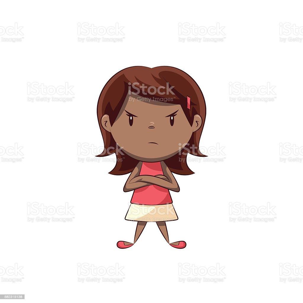 Angry little girl vector art illustration