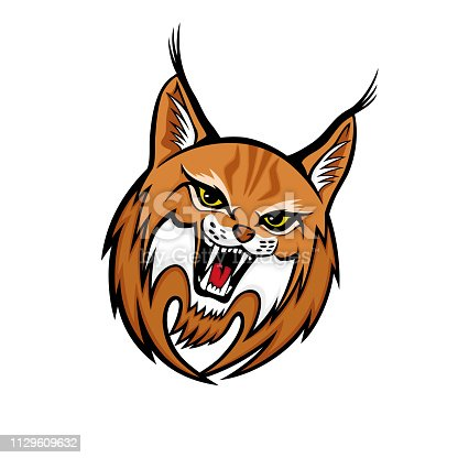 Angry lynx sign mascot on white background.