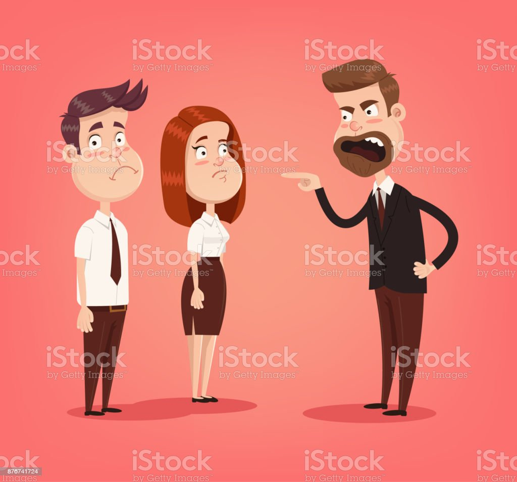 Angry mad boss character screaming at employees office workers vector art illustration