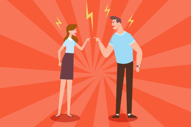 Angry man and woman quarrelling and making a loud public scandal. Vector flat cartoon illustration unhappy couple stock illustrations