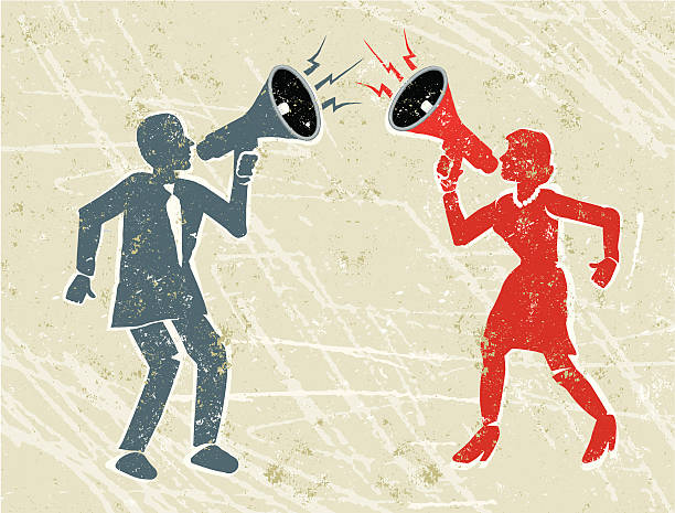 Angry Man and Woman Shouting at Each Other Through Megaphones Drown each other out! A stylized vector cartoon of an arguing man and woman shouting at each other through megaphones, suggesting communication, shouting, noise, loud, arguing, relationship difficulties, frustration, getting your message across or volume . Man, woman, megaphones, paper texture and background are on different layers for easy editing. Please note: clipping paths have been used,  an eps version is included without the path. hands covering ears stock illustrations