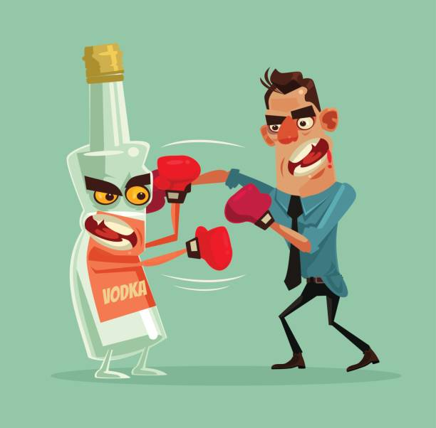 Angry man fights with alcohol bottle characters and trying quit drinking vodka vector art illustration