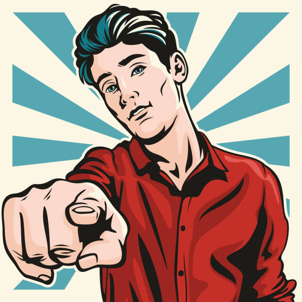 Angry Man Pointing at You vector art illustration