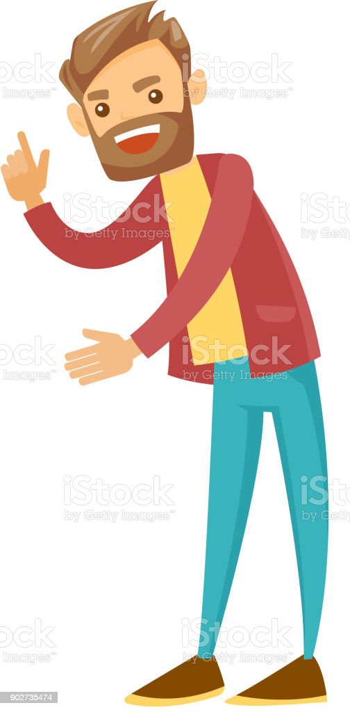 Angry man shaking his finger in a scolding way vector art illustration