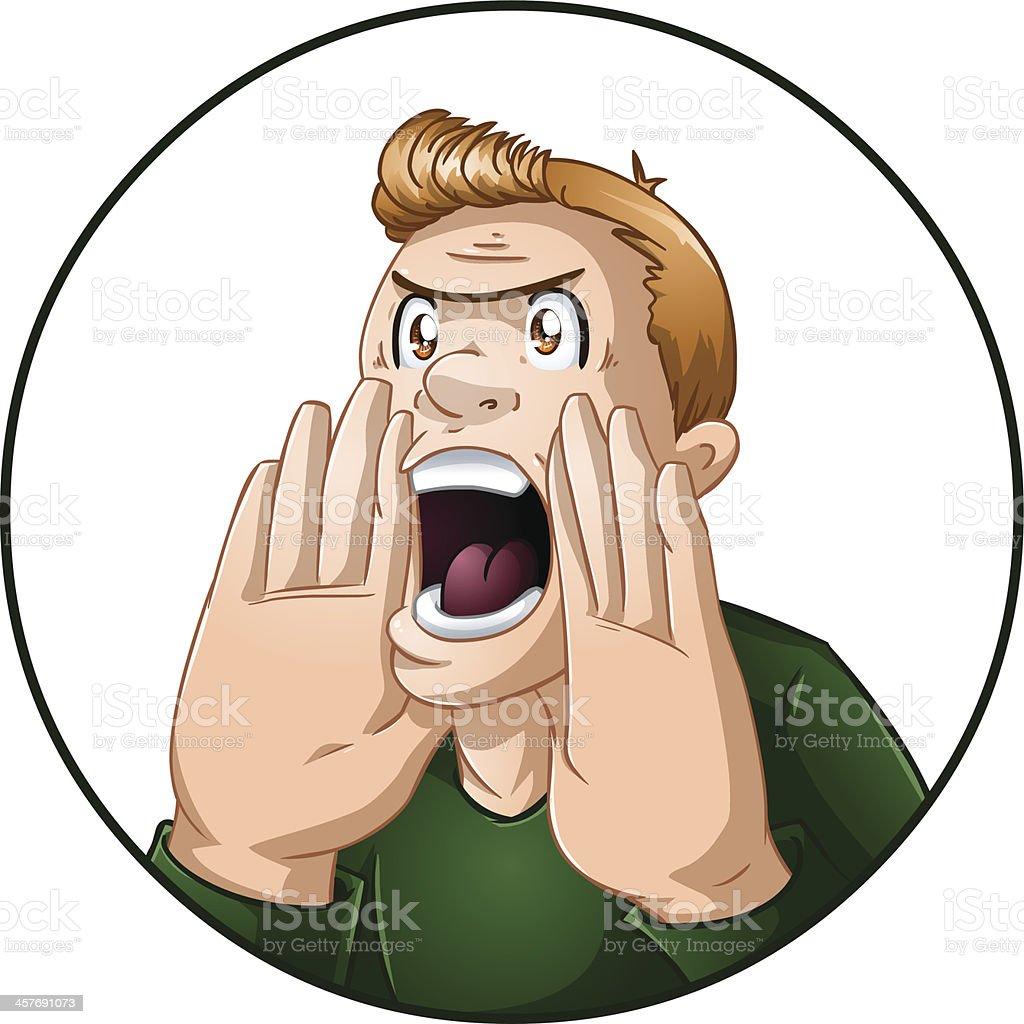 Angry Man Shouts vector art illustration