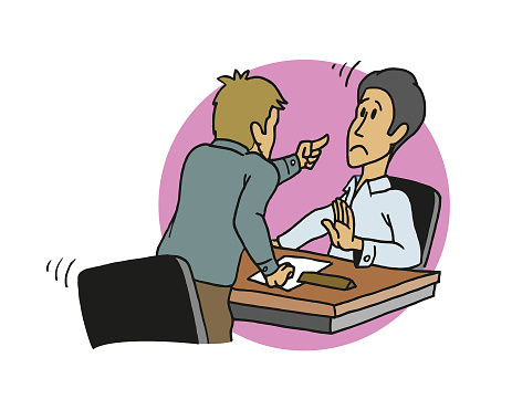 Angry man threatening and pointing with his finger to his boss, or to an office worker sitting on his desk. Cartoon style vector illustration.