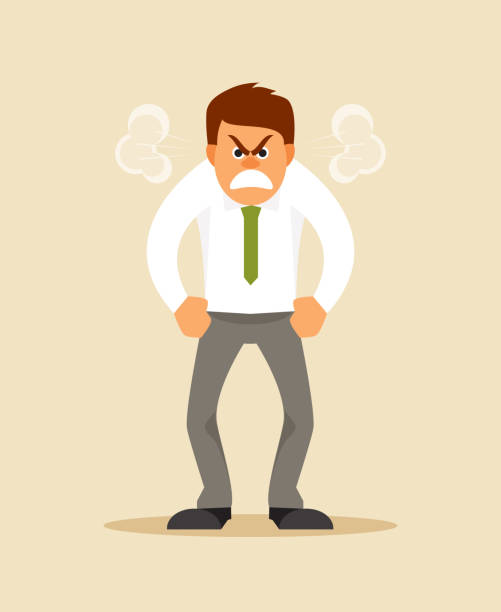 Angry man Angry screaming office worker with steam from the ears. Humorous vector illustration displeased stock illustrations