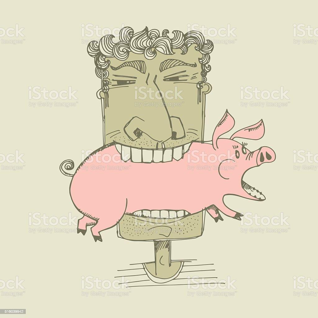 angry man vector sketch illustration vector art illustration