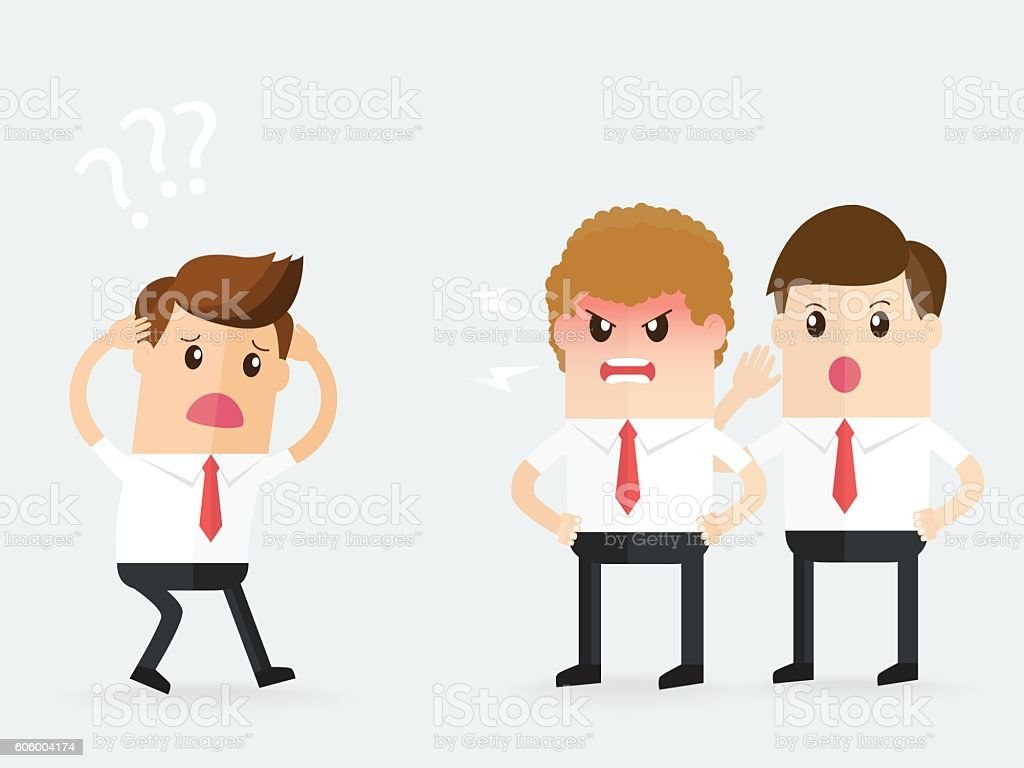 angry manager listen to one side and shouting to employee, vector art illustration