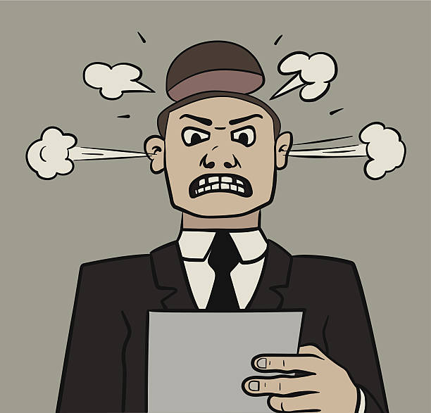 angry manager - old man making funny face cartoons stock illustrations, clip art, cartoons, & icons