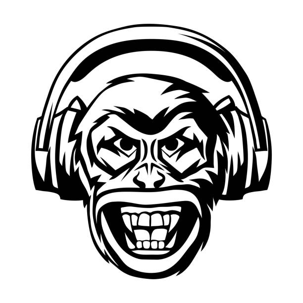 angry monkey head in headphones. - jungle stock illustrations