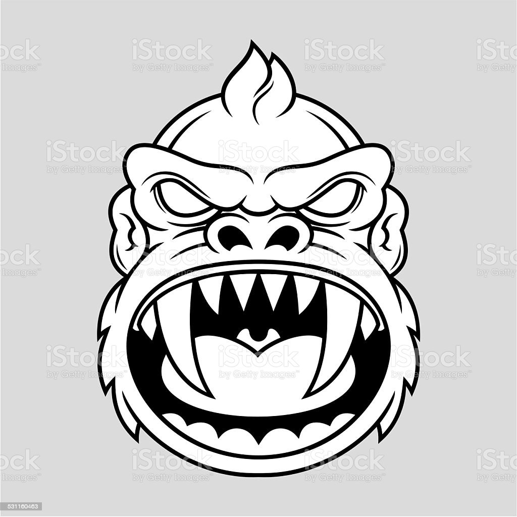 angry monkey vector art illustration