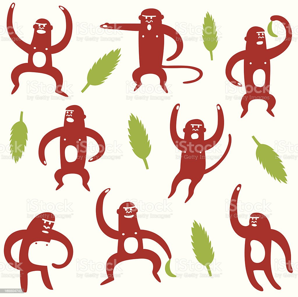 Angry Monkeys vector art illustration