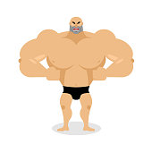 Angry Muscled. Aggressive bodybuilder on white background. grump