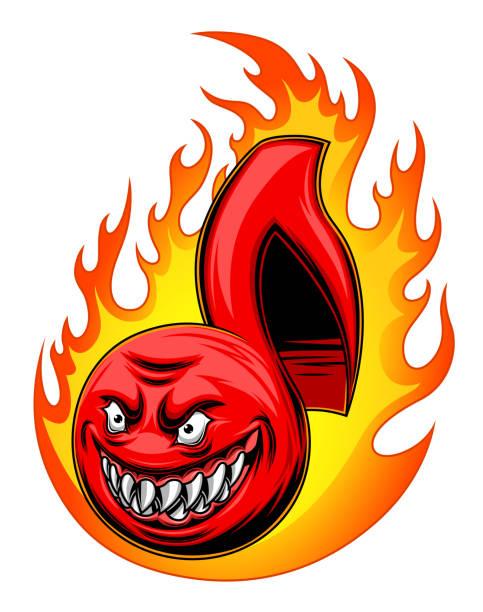 illustrazioni stock, clip art, cartoni animati e icone di tendenza di angry musical note - deadly sings