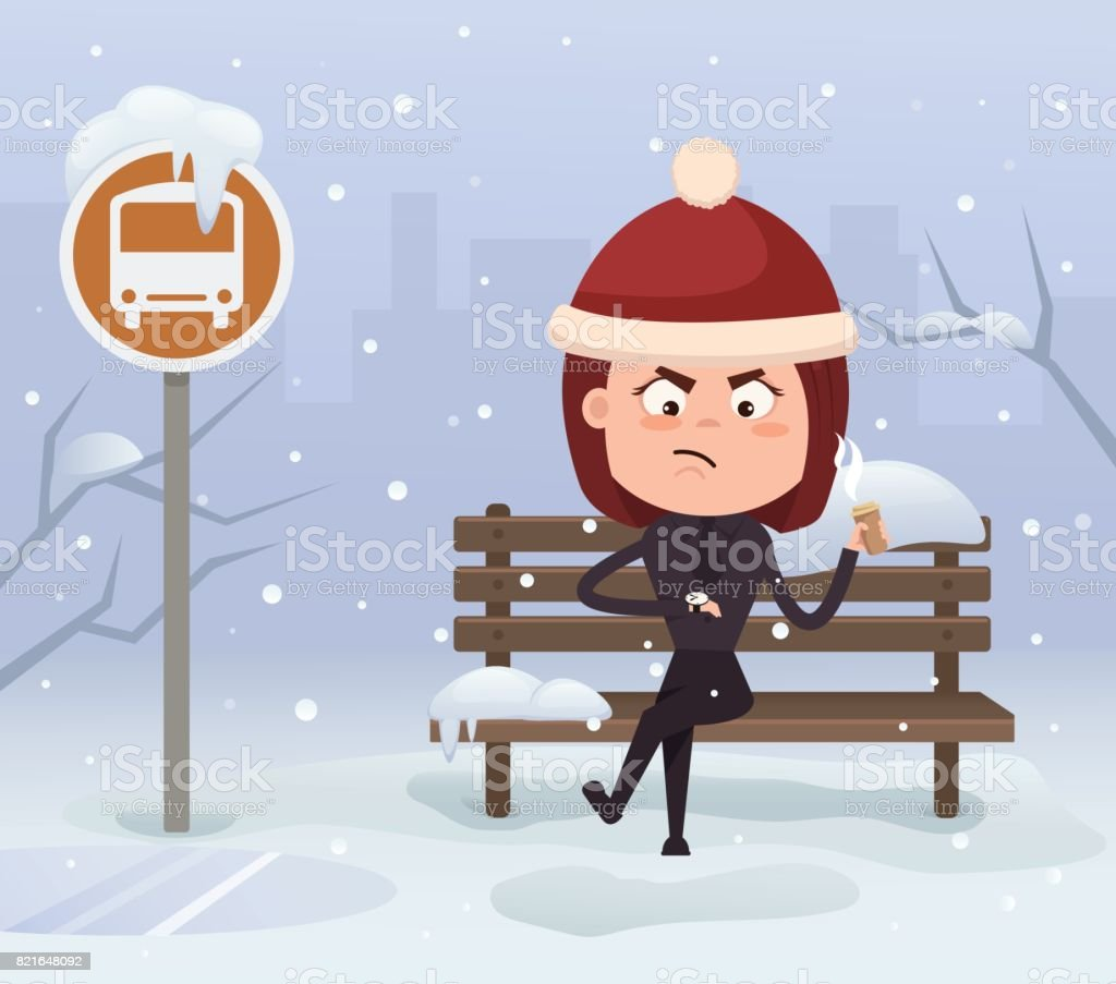 Angry nervous business woman office worker character waiting late bus look at watch and sitting on station. Cold snowy weather in winter vector art illustration