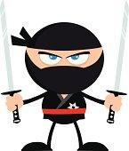 Angry Ninja Holding Two Katanas
