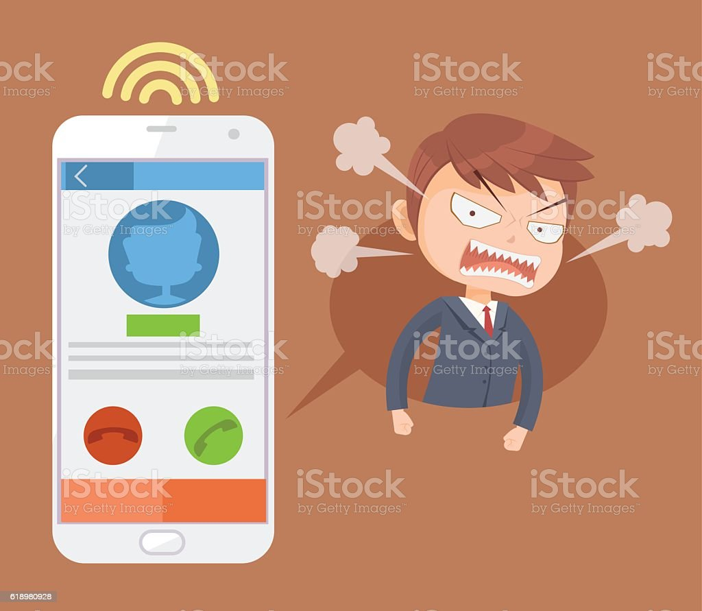 Angry office man boss character call. Vector flat cartoon illustration vector art illustration