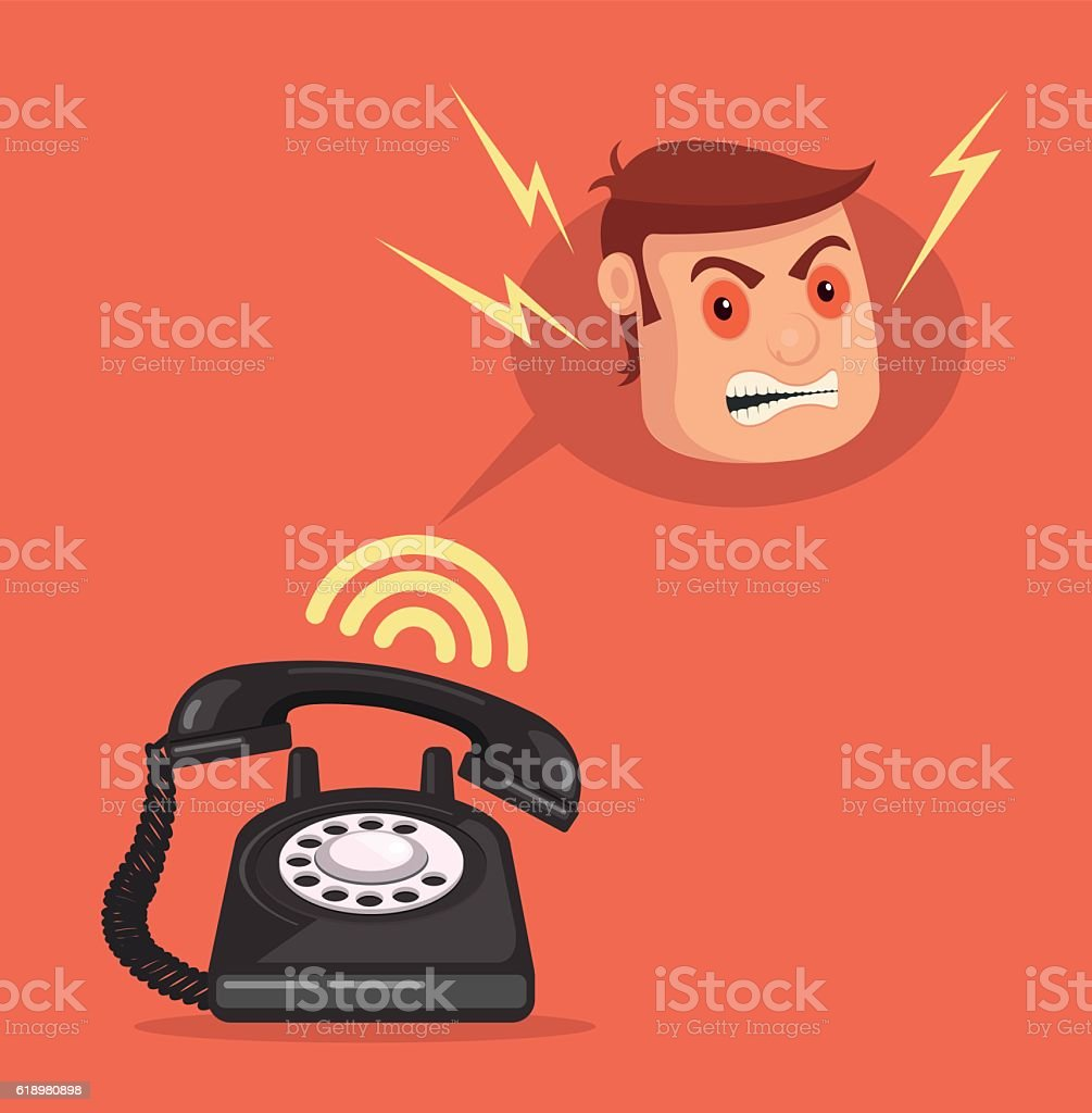 Angry office man head character call. Vector flat cartoon illustration vector art illustration