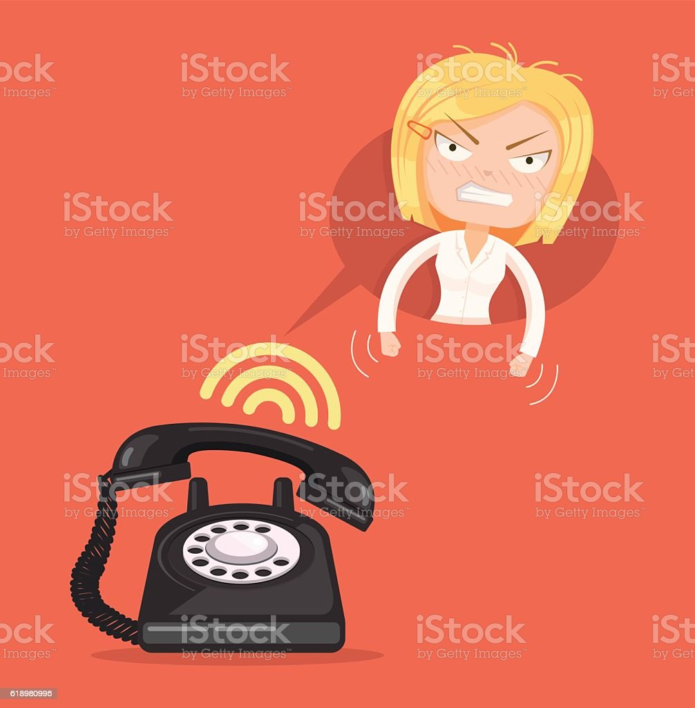 Angry office woman character call. Vector flat cartoon illustration vector art illustration