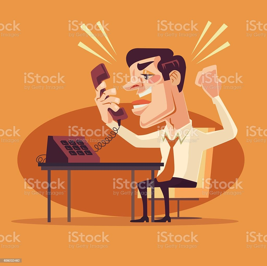 Angry office worker character shouting on phone vector art illustration
