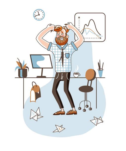 ilustrações de stock, clip art, desenhos animados e ícones de angry office worker flat vector illustration - puxar cabelos