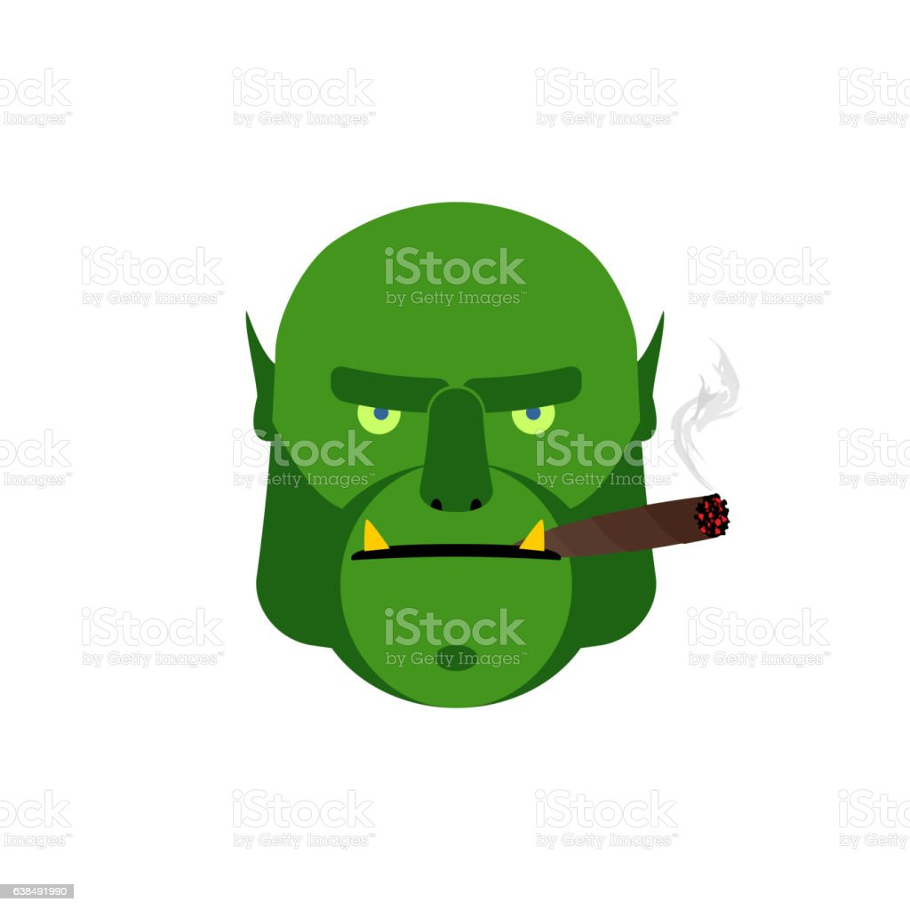 Angry ogr with cigar. Aggressive green monster isolated vector art illustration