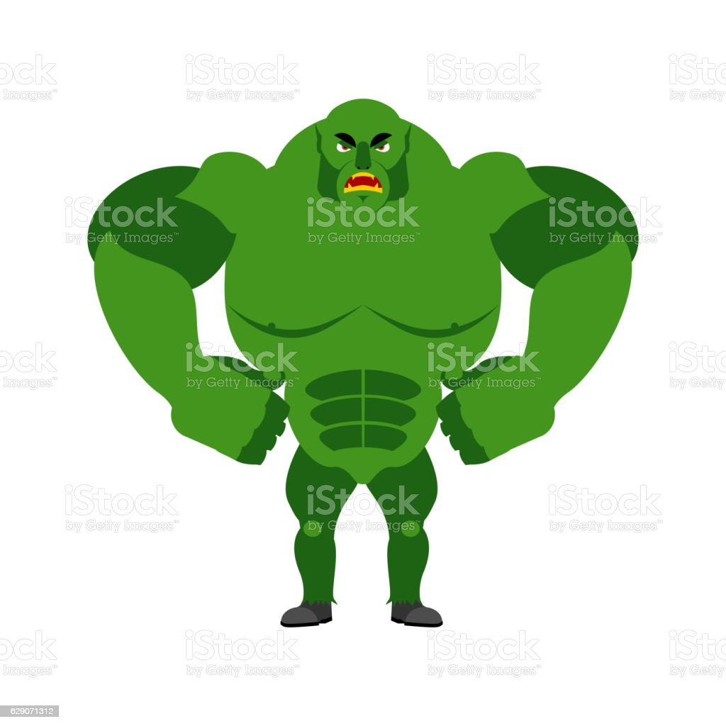 Angry ogre. Aggressive Green Troll on white background. Wild evi vector art illustration