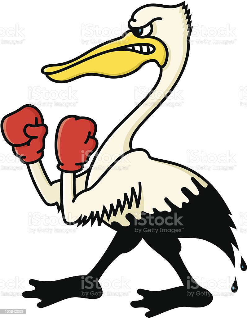 Angry, Oil-Soaked Pelican royalty-free stock vector art