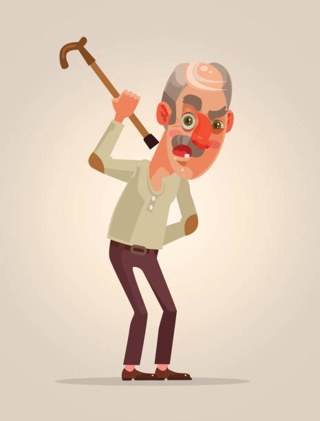 angry old man character - old man crying stock illustrations, clip art, cartoons, & icons