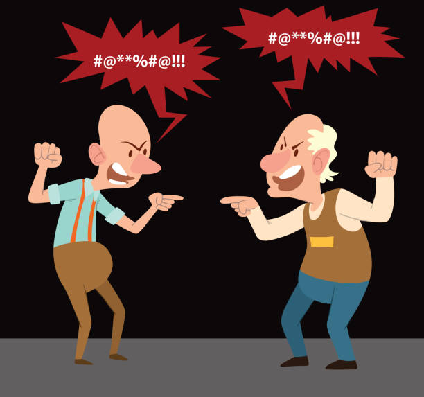 angry old men screaming at each other - old man portrait clip art stock illustrations, clip art, cartoons, & icons