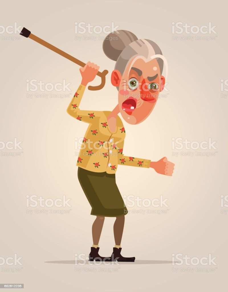 Angry old woman character vector art illustration