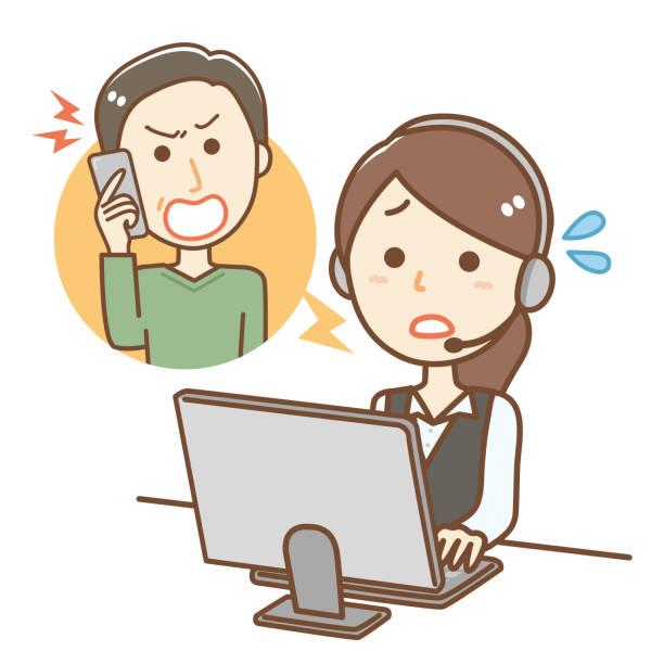 怒る年配の男性と電話オペレーターの女性 - オペレーター 日本人点のイラスト素材/クリップアート素材/マンガ素材/アイコン素材