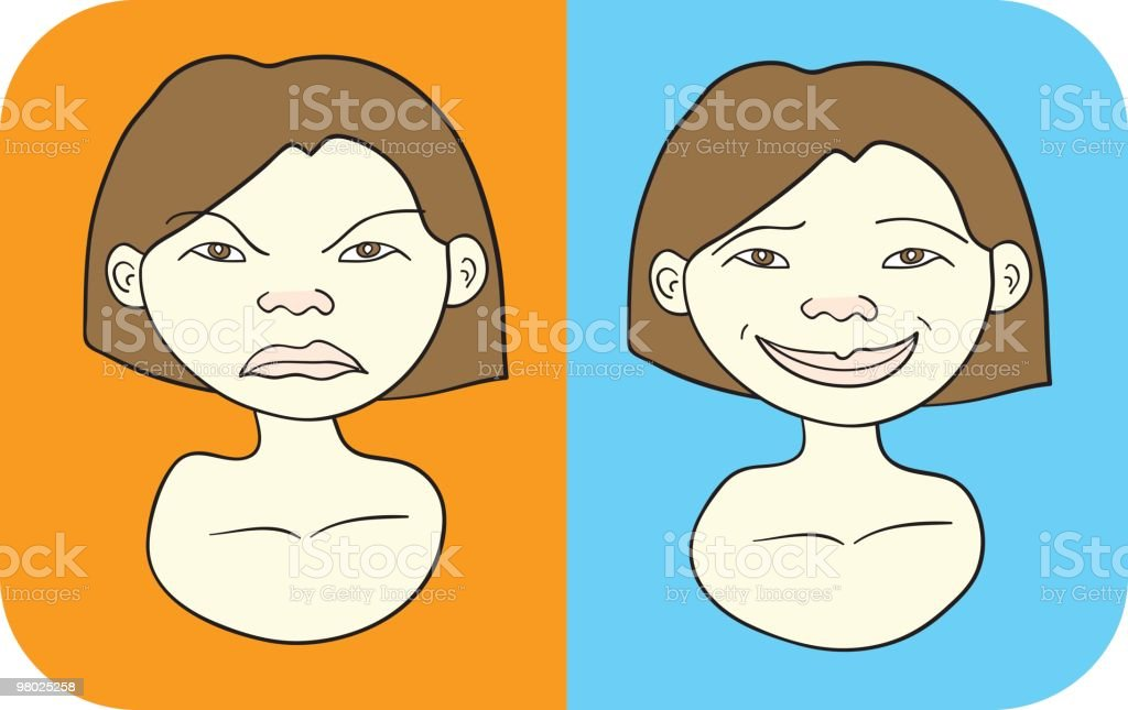 Angry one moment happy the next..... royalty-free angry one moment happy the next stock vector art & more images of adult