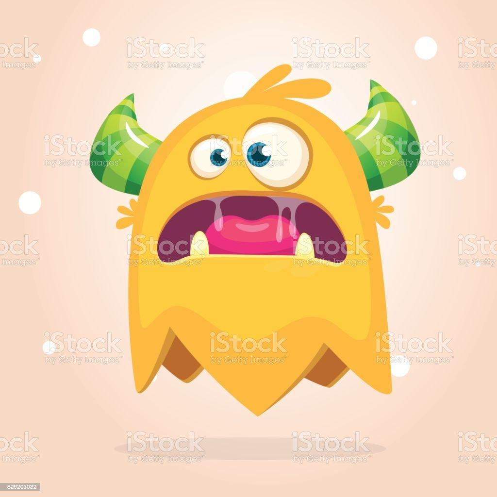 Ilustración de Monstruo Enojado Color Naranja Dibujos Animados Con ...