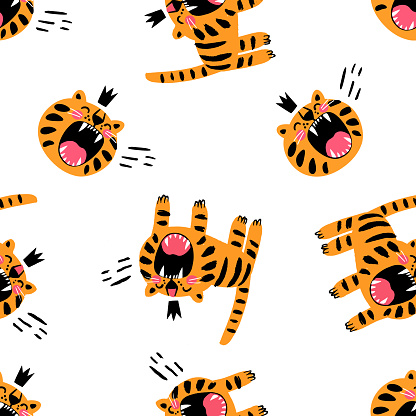 Angry orange tiger and feline muzzle in crown hand drawn childish seamless pattern vector flat illustration. Cute kids decorative print design wallpaper background. Funny wild animal textile template
