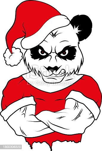 Angry panda bear santa claus