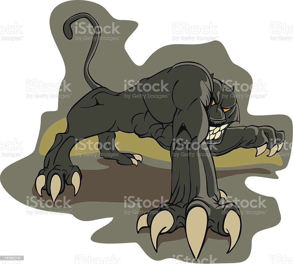 angry panther vector art illustration