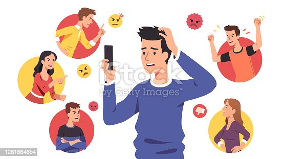 istock Angry people men, women bullies send aggressive messages & bully sad disturbed guy. Harassing victim read messages on cell phone suffering from cyber bullying. Harassment problem vector illustration 1261664654