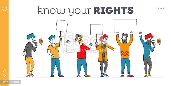 istock Angry People with Placards Protest on Rally Landing Page Template. Characters Holding Empty Placards, Banners or Signs 1271084588