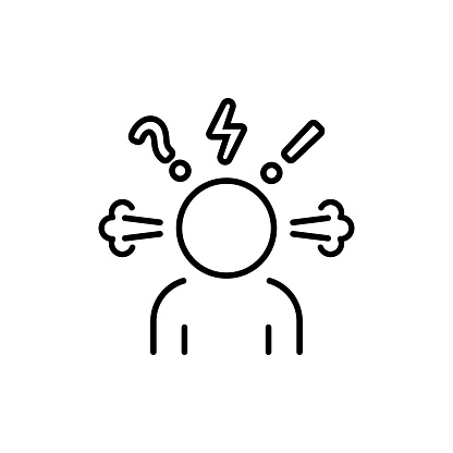 Angry person line icon. Steam is coming out from ears. Frustration, burnout, furious. Annoyed man. Stress symptom. Vector on isolated white background. EPS 10.