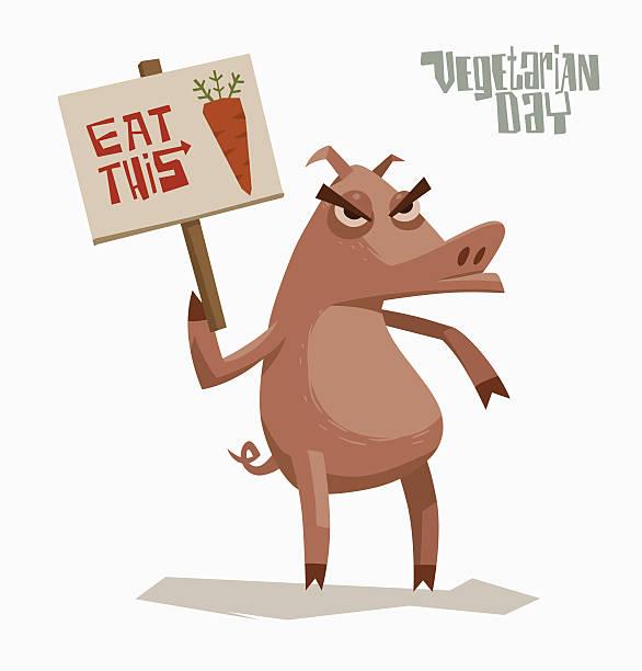 wütend katze hält poster zur unterstützung von vegetarianism - karotte peace stock-grafiken, -clipart, -cartoons und -symbole