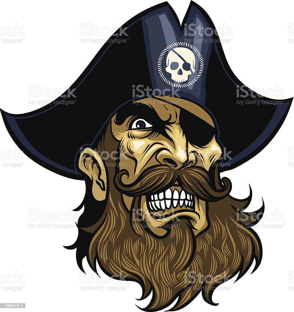 Angry Pirate face vector art illustration