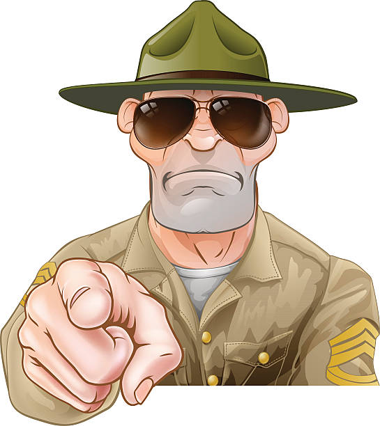 Angry Pointing Drill Sergeant An angry looking cartoon army boot camp drill sergeant pointing sergeant stock illustrations