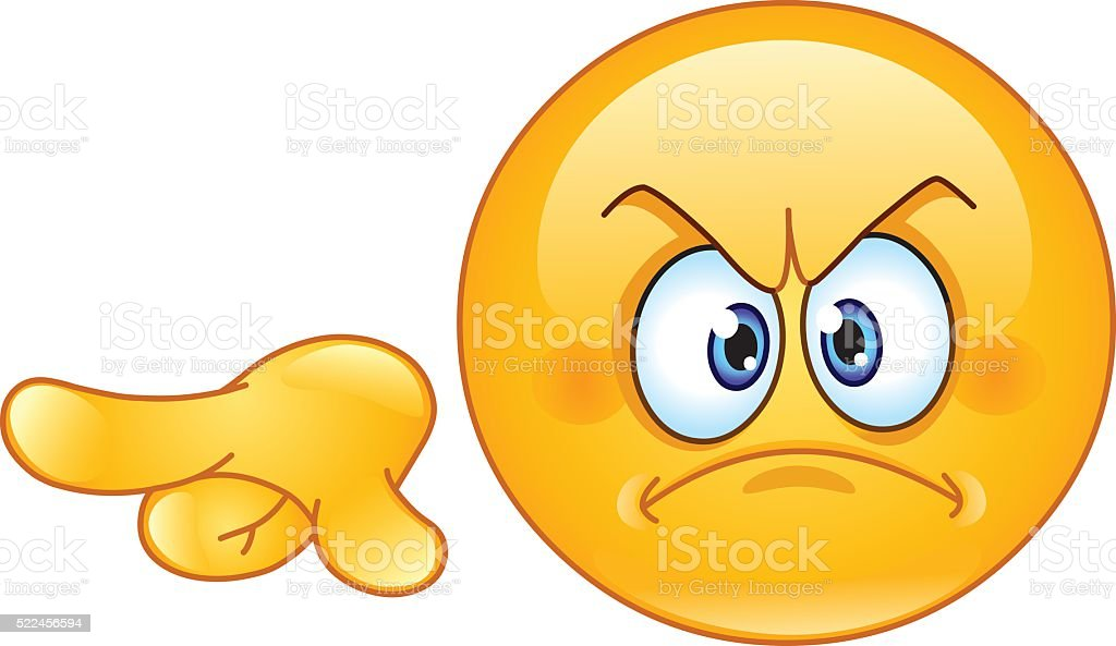 Angry pointing out emoticon vector art illustration