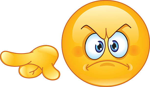 angry pointing out emoticon - angry emoji stock illustrations, clip art, cartoons, & icons