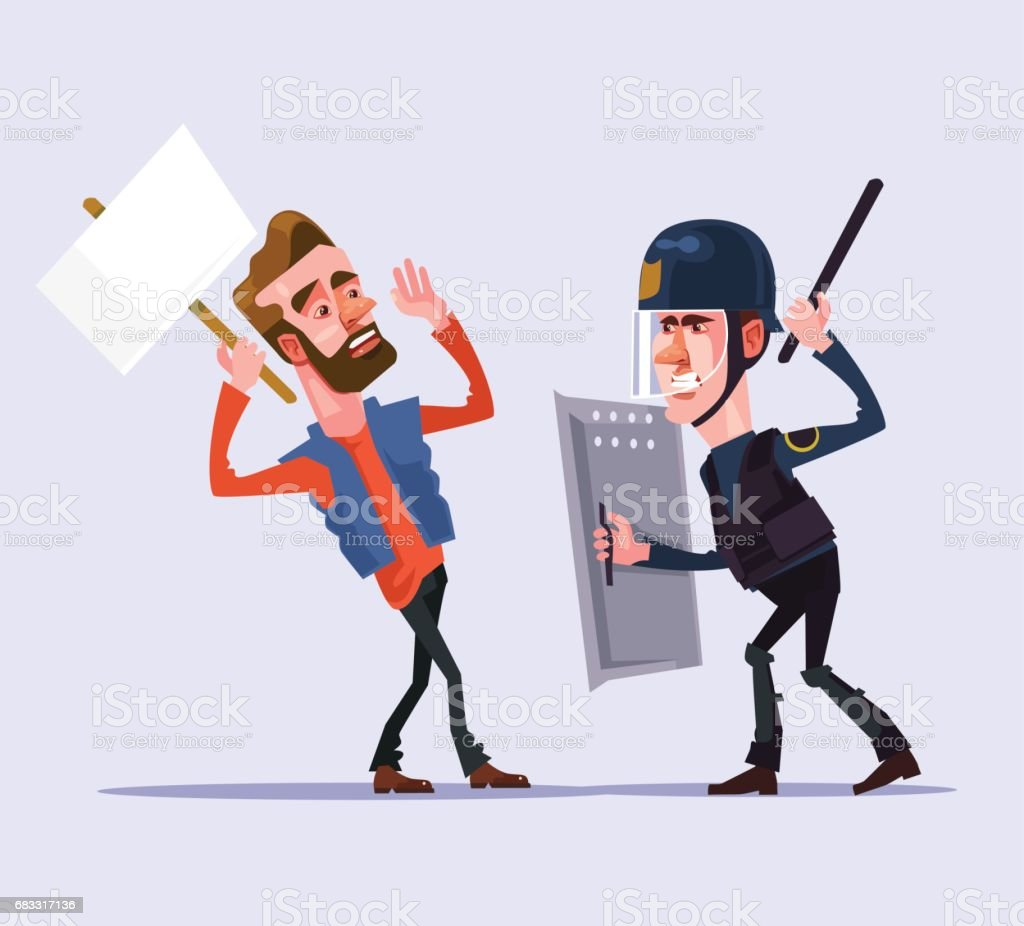 Angry police officer man character attacks protester royalty-free angry police officer man character attacks protester stock vector art & more images of adult