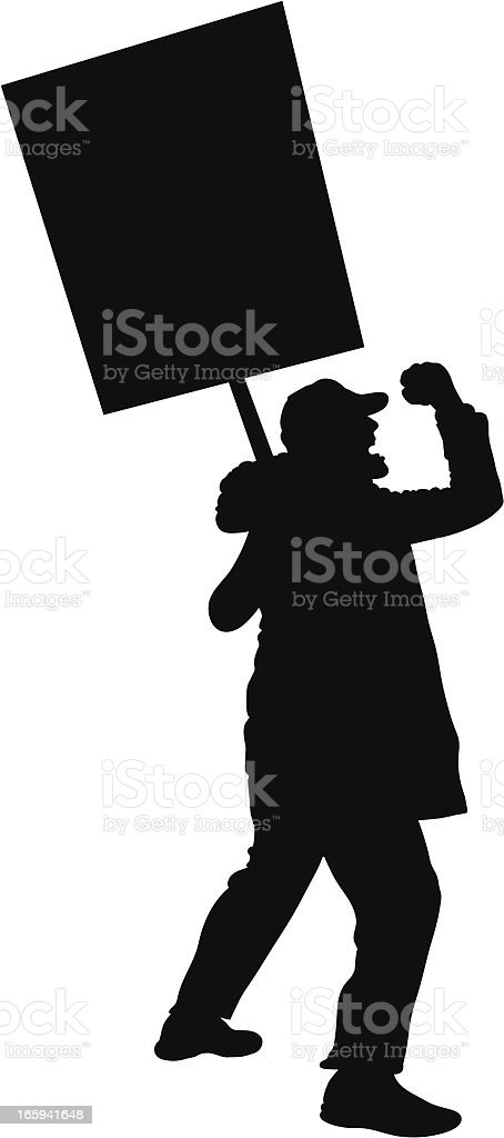 Angry Protester vector art illustration